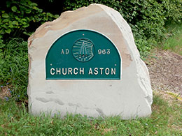 Image of a stone labelled as Church Aston Parish Council